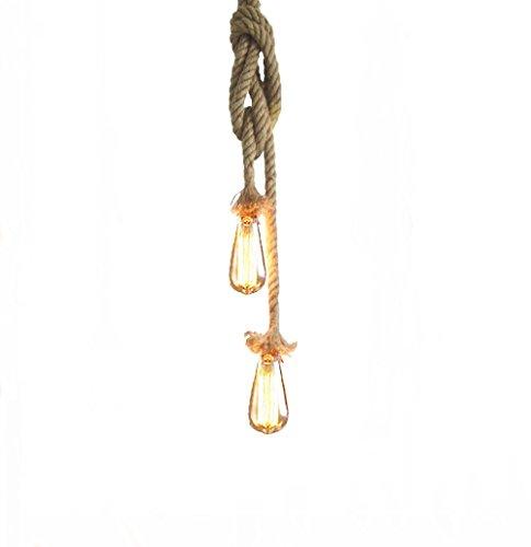 Lixada Vintage Seil Hängelampe 200cm(100cm+100cm)Pendelleuchte AC220V E27 (ohne Birne)