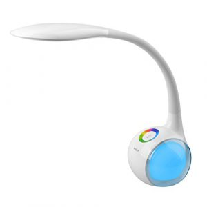 WILIT® HZ T3 5W dimmbare LED Schreibtischlampe/Atmosphärenlampe mit Schwanenhals und Touchfeld für Farblicht und 3 Helligkeitsstufen, weiß