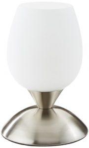 Reality Leuchten R59431007, Tischleuchte, nickel matt, Glas weiß, inkl. 3-Stufen Touch Funktion, dimmbar, Höhe: 18cm,