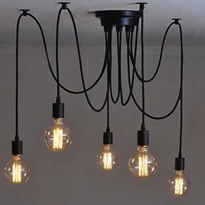 E27 DIY retro Industrie-Stil höhenverstellbar Kronleuchter Pendelleuchten Hängelampe(5-Flammig,1.2M,Glühbirne nicht inbegriffen)