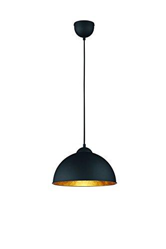 Reality Leuchten Pendelleuchte Hängeleuchte, 1 x E27 ohne Leuchtmittel, Durchmesser 31 cm, Außen schwarz, Innen gold-farbig, R30121002