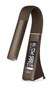 WILIT® U2 5W edle und moderne LED Schreibtischlampe in Lederoptik mit integriertem Wecker, Kalender, Uhrzeit und Temperaturanzeige, in 3 Helligkeitsstufen verstellbar