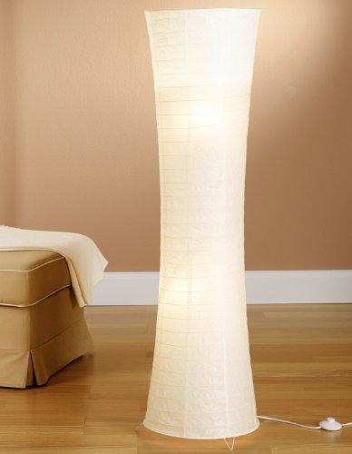 Trango Reispapier Stehleuchte Stehlampe modernem Design 125cm Hoch (in weiß TG1229-026)