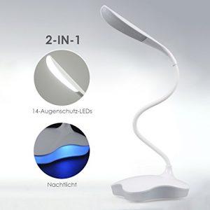 ProGreen NEU Design LED Tischlampe mit Touch-Dimmer, 3 Helligkeiten und 1 Nachtlicht, 5w 120lm, 14 CREE LEDs, dimmbar, ultralleicht, tragbar und 360° flexibel mit USB Aufladung, Schreibtischlampe für Kinder, Tischleuchte, Leselampe, Buchlampe (Blau Nachtlicht)