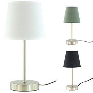"""Design Tischleuchte Ø ca. 14 cm, Höhe ca. 32 cm, Stoffschirm """" Luna """" 3 tolle Farben (Weiss)"""