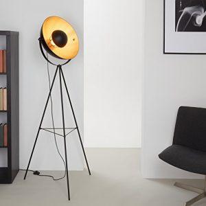 Briloner Leuchten LED Stehleuchte, Stehlampe, Studiolampe, Studioleuchte, Wohnzimmerlampe, Wohnzimmerleuchte, 4xE27, Max. 40W Vintage Lampe, Metall, E27, Schwarz-Gold-Matt, 160 x 72.3 x 160 cm