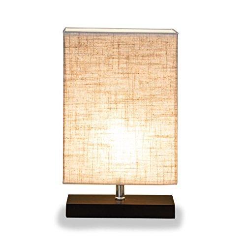 ZEEFO Holz Tischlampe, Retro Massiv holz und Stoffschirm entspannende Nachttischlampe für Schlafzimmer Wohnzimmer, Studio , Café , Babyzimmer,Studentenwohnheim (Rectangle)