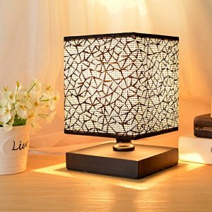 HHome Plus Tischleuchte Nachttischlampe Massiv Holz, Stoffschirm Entspannende Beleuchtung, Quadratisch,Schwarz