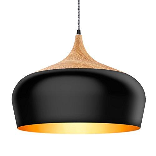 Tomons Pendelleuchte im modernen minimalistischen Stil, Eisen mit Holzmuster Decke Pendelleuchte, E27, max. 60W Birne/12W LED, Lampenschirm 45 cm Durchmesser, für Esszimmer, Küche, Wohnzimmer(PL1001)
