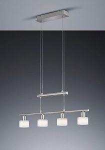 Khl LED Pendelleuchte 4x4W hell höhenverstellbar 95 – 170 cm New York 3000k 74cm nickel matt / Glas weiß 18 Watt