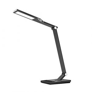 TaoTronics 100% Metall Schreibtischlampe LED Tageslichtlampe 12W Touch-Control 5 Farbetemperaturen und 6 Helligkeiten mit USB-Anschluss 5V 2A zum Aufladen von Smartphones und Tablets, Eisen-Grau