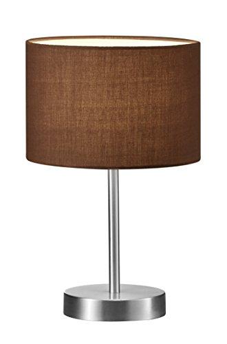Trio Leuchten Tischleuchte in Nickel matt, Stoffschirm braun, exklusive 1x E14 maximal 40W, ø 20 cm, Höhe: 32 cm 501100114