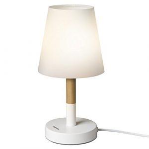 Tomons Nachttischlampe/ Bettschrank Stofflampenschirm Schreibtischlampe/ Massivholzlampe für Schlafzimmer, Wohnzimmer, Wohnheim, Kaffeetisch- weiß