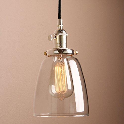 Pathson Antike Pendelleuchte Industrie Loft-Pendelleuchte Klar Glas Pendelleuchte Hängeleuchte Vintage Hängelampen(messing Farbe)