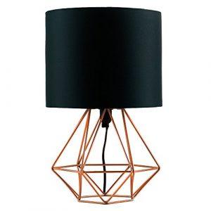 MiniSun – 'Angus' Tischleuchte im retro Körbchenstil mit einem kupferfarbigen Finish und einem schwarzen Lampenschirm – Tischlampe