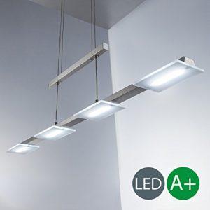 Höhenverstellbare 4W LED Pendelleuchte Inkl. 4 X LED-Platinen 330lm 3000K LED Hängelampe Wohnzimmerleuchte Esstischleuchte Warmweiß IP20 Innenleuchte Kunststoff matt nickel 4 flammig