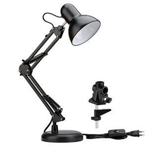 LE Schreibtischlampe Set, Klemmleuchte, Tischlampe, verstellbare Arbeitsleuchte, Schreibtischleuchte, Tischleuchte, verstellbar Schwenkarm mit Lampenschirm Schwarz