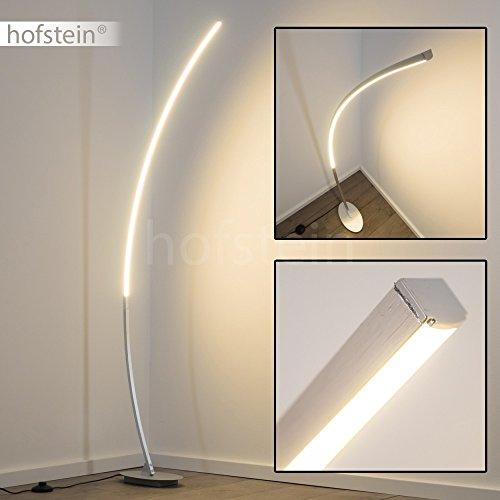 LED Stehleuchte elegante Standlampe mit warmweissem Licht 300 Kelvin 11 Watt und Fußschalter (Aluminium gebürstet)