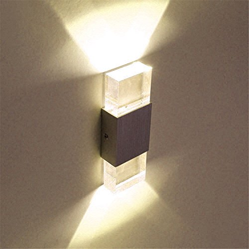 Lightess 6W Led Wandleuchten innen Up and Down Wandlampe Aluminium+Glas Wandleuchtern Gipslampe , für Flur Korridor Eingang Wohnzimmer Schlafzimmer usw. Warmeiß