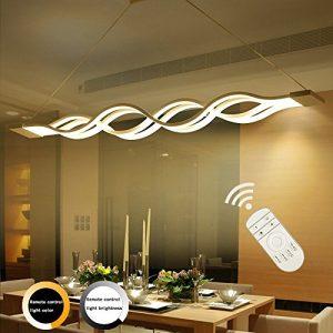 LED Pendelleuchte, Ziplighting Minimalistischen Acryl Wellenförmige Hängelampe, Kronleuchter Gilt für Wohnzimmer Schlafzimmer Hotelzimmer, Höhenverstellbar Einstellbare(0.8–1.2m), 80w, 3000– 6000K