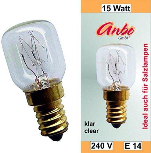 2 Stück Glühbirne E14-15 Watt Spezial-Leuchtmittel für Salzlampe und Kühlschrank