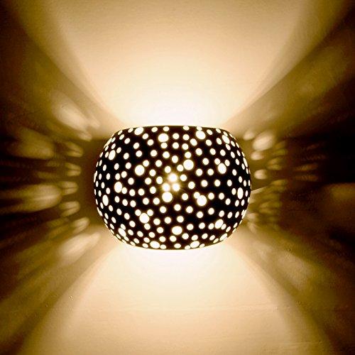 TENSENG Wandleuchte 3W Leuchten LED Modern Design Gipslampe Wandlampe Gips LED Wandbeleuchtung Weiß (TX11002R)