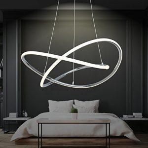 LED Design Pendelleuchte Warmweiß | Hingucker | Groß | XL | Ø 60cm | Höhenverstellbar | Ringe | Küchen Hängelampe | Wohnzimmer | Designleuchte | Deckenlampe | Schlafzimmer | Modern