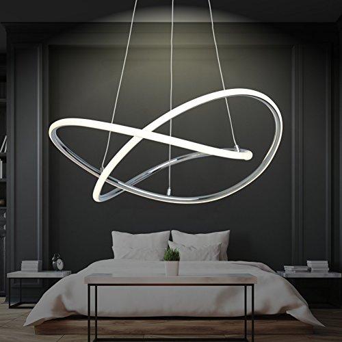 LED Design Pendelleuchte Warmweiß   Hingucker   Groß   XL   Ø 60cm   Höhenverstellbar   Ringe   Küchen Hängelampe   Wohnzimmer   Designleuchte   Deckenlampe   Schlafzimmer   Modern