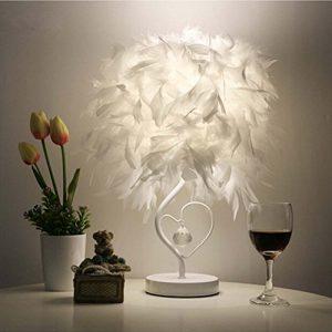 OULII Nachttisch Leselicht Zimmer Wohnzimmer Herz Form Feder Crystal Tisch Lampe mit EU-Stecker, Heimtextilien