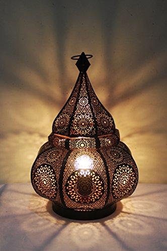 Orientalische Marokkanische Tischlampe Lampe Leuchte Tischleuchte Nachttischlampe Laterne Malhan (Schwarz)