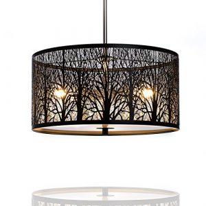 Hängelampe | Hängeleuchte Natura | Deckenlampe 40cm | Natur | Wald | Lounge | Wohnzimmer | Esszimmer | Schlafzimmer | dimmbar | LED geeignet |3x E27 Fassung