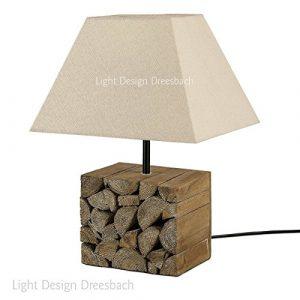 1er Set Tischleuchte Tischlampe Lampe Leuchte Holz Schirm in beige E14 ohne Leuchtmittel
