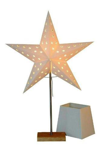 Standleuchte Combi Pack Lampenschirm + Stern creme auf Holzbasis eiche Stern 67x43 Lampe 52x20cm Kabel 1,80M 230V E14