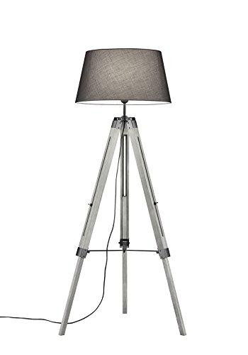 Khl LED Stehlampe Standleuchte Studio Stoffschirm Dreifuß grau 143cm 9W E27 KH409911