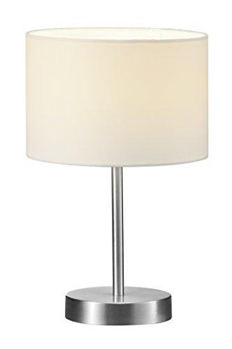 Trio Leuchten Tischleuchte in Nickel matt, Stoffschirm weiß, exklusive 1x E14 maximal 40W, ø 20 cm, Höhe: 32 cm 501100101