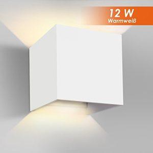 GHB 12W LED Wandleuchte Wandlampe mit einstellbar Abstrahlwinkel Design Wasserdichte IP 65 LED Wandbeleuchtung 2700K Warmweiß (Weiß)