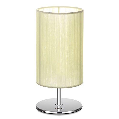 Albrillo Nachttischlampe Tischlampe mit dem Lampenschirm aus Gelbem Seidenband, Fassung E27 für 40W