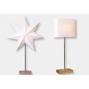 Standleuchte Combi Pack Lampenschirm + Stern beige auf Holzbasis Stern 67×43 Lampe 52x20cm Kabel 1,80M 230V E14
