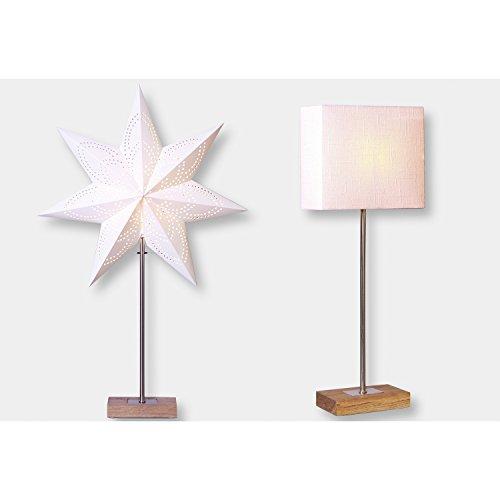 Standleuchte Combi Pack Lampenschirm + Stern beige auf Holzbasis Stern 67x43 Lampe 52x20cm Kabel 1,80M 230V E14