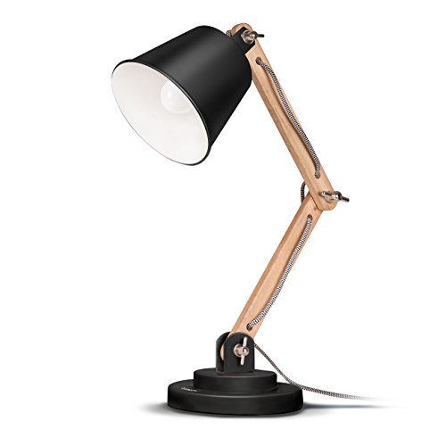 Tomons schwenkbare Schreibtischlampe Leselampe Retro Design für Schreibtisch und Nachttisch, Designer-Lampe für Arbeitszimmer, Büro, Schlafzimmer und Wohnzimmer inkl. E27 LED-Leuchtmittel, Schwarz