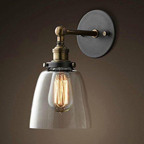 Lixada Retro Wandbeleuchtung Glas Lampeschirm E27 (Ohne Glühbirne)
