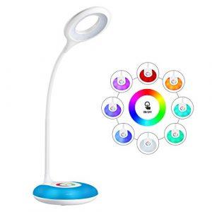 LED Schreibtischlampe HIHIGOU Dimmbare Augenschutz Leselampe 3.2W, Touch-Steuerung Farbwechsel und 3 Helligkeitsstufen, USB-Ladeanschluss 5V 1A, 360 Grad Flexibel Tischlampe Licht, weiß