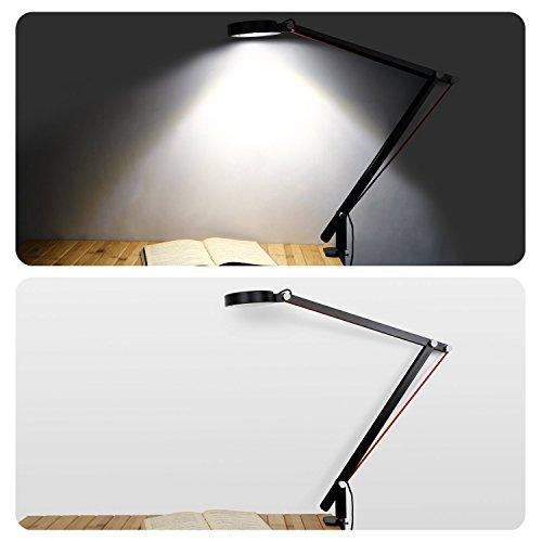 Aglaia Schreibtischlampe mit Klemme, 6,5W Licht LED Tisch mit verstellbar Schwenkarm für Verwendung in Büro, Studio, Wohnzimmer, Netzteil Strom enthalten. (lt-t21)