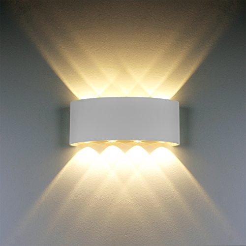 LED Modern Wandleuchte Innen 8W Weiss LED Licht Wandlampe Aluminium Leuchten Wandlicht Wasserdichte IP65 LED Wandbeleuchtung 2700K Warmweiß