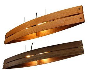 Hängeleuchte Holz CANOT – Pendelleuchte aus Eiche/Nussholz/Mahagoni – Textilkabel – made in Germany – LED Designer Deckenleuchte Massivholz 2xE14 Esszimmer, Wohnzimmer, Flur handgemachte Hängelampe