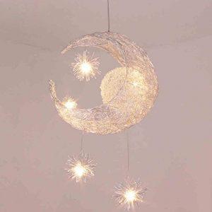 LONFENNER Creative Moon and Stars Pendelleuchte / Deckenleuchte Mond und Sterne, für Kinderzimmer, Wohnzimmer