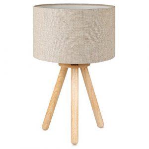 Tomons Nachttischlampe, minimalistischer Stil, sanftes Licht, Lampenschirm aus Naturleinen, Höhe 39 cm, geeignet für Schlafzimmer mit warmer, gemütlicher Atmosphäre, 4 W LED im Lieferumfang enthalten