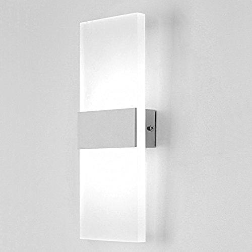 Glighone 12W LED Wandleuchte Innen Weiss Up and Down Wandlampe Innenleuchten Wand Innen Wandlampe für Treppenhaus Wohnzimmer Korridor Schlafzimmer, Kaltweiss