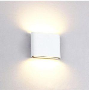 Glighone Wandleuchte LED Weiss Innen Modern Wandlampe Up Down 6W Warmweiß Aluminium Flurlampe Ideal für Flur Wohnzimmer Schlafzimmer Pathway Treppenhaus Outdoor Garten