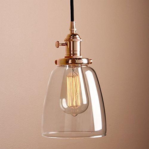 Pathson Industrie Loft-Pendelleuchte Antik Deko Design Klar Glas innen Pendelleuchte Hängeleuchte Vintage Hängelampen Hängeleuchte Pendelleuchten (Kupfer Farbe)